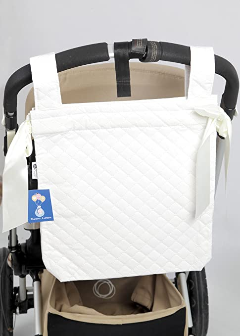 Danielstore- Bolso Talega Panera Plastificada para Carrito bebe- capazo bebe. Color blanco