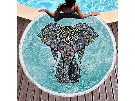 Rosetreee Facecloth cómodo Toallas de Playa de borlas Redondas Patrón de Elefante de Colores Mantel de