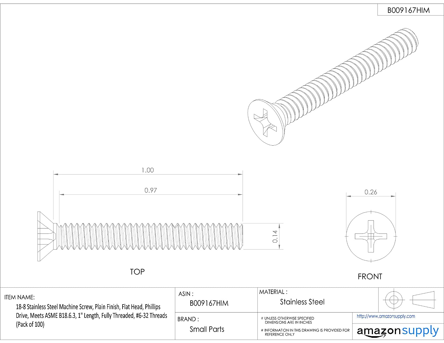 1 Length 18-8 Stainless Steel Machine Screw Flat Head 1 Length Small Parts Phillips Drive Pack of 100 Meets ASME B18.6.3 #6-32 UNC Threads Plain Finish Fully Threaded