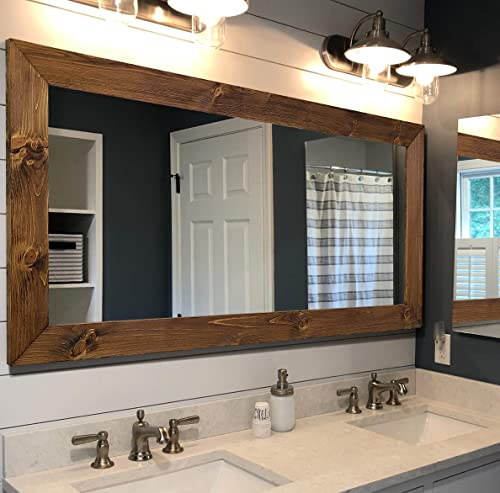 Amazon Com Shiplap Rustic Wood Framed Mirror 20 Stain Colors Rustic Reclaimed Style Wood Farmhouse Bathroom Mirror Full Length Vanity Mirror Large Mirror For Wall Big Hanging Wall Mirror Handmade