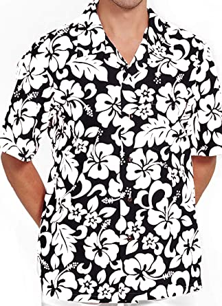 a7de2c2b M&B USA Men's Hawaiian Shirt Button Down Casual Aloha Short Sleeve Beach  (Black/White