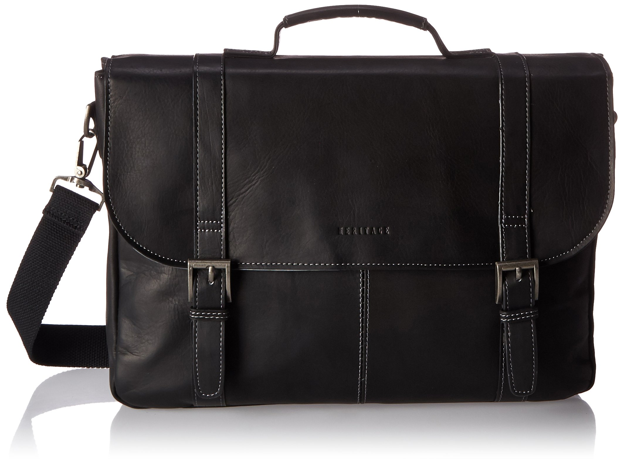Heritage Double Gusset Flapover Computer Case Holds Most 16 Inch Size Laptops, Black, One Size