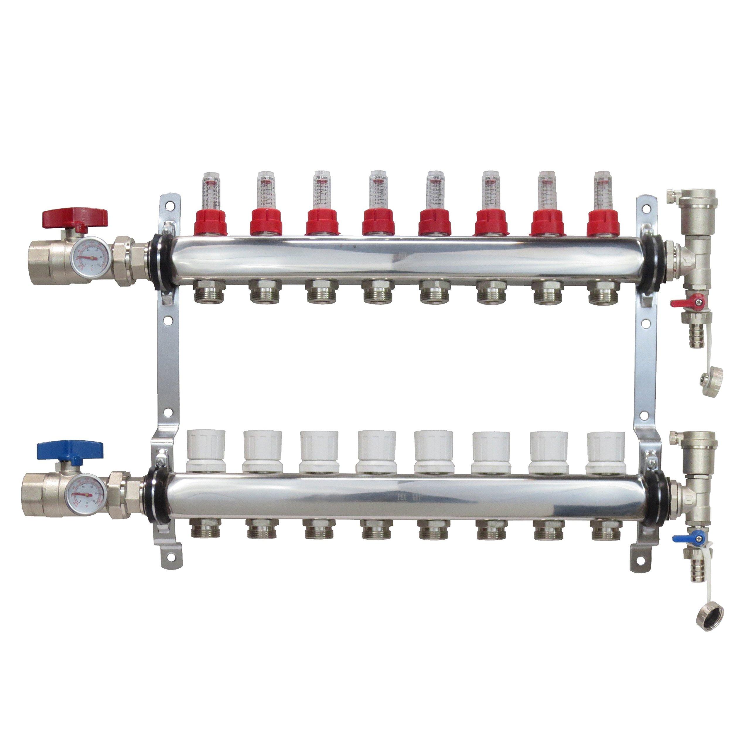 8 Loop Stainless Steel Premium PEX Manifold With 1/2'' Connectors for Radiant Heating - PEX GUY (8 Loops)