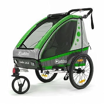 Qeridoo Jumbo 1 Niños de remolque de bicicleta (1 Niño), verde