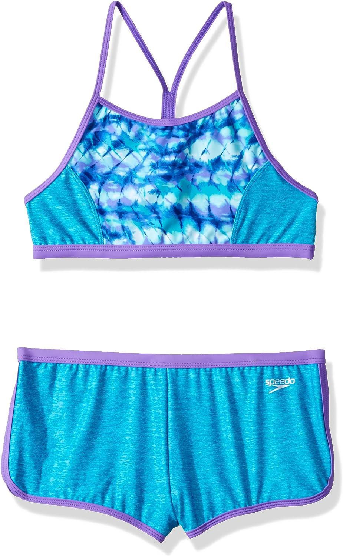 Manufacturer Discontinued Speedo Girls Swimsuit Two Piece Bikini Boy Short Set