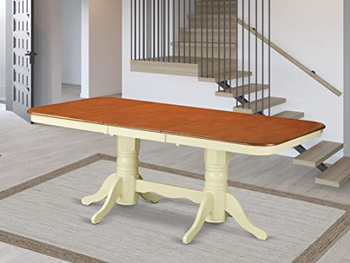 East West Furniture NAT-WHI-TP Butterfly Leaf Napoleon Wood Kitchen Table