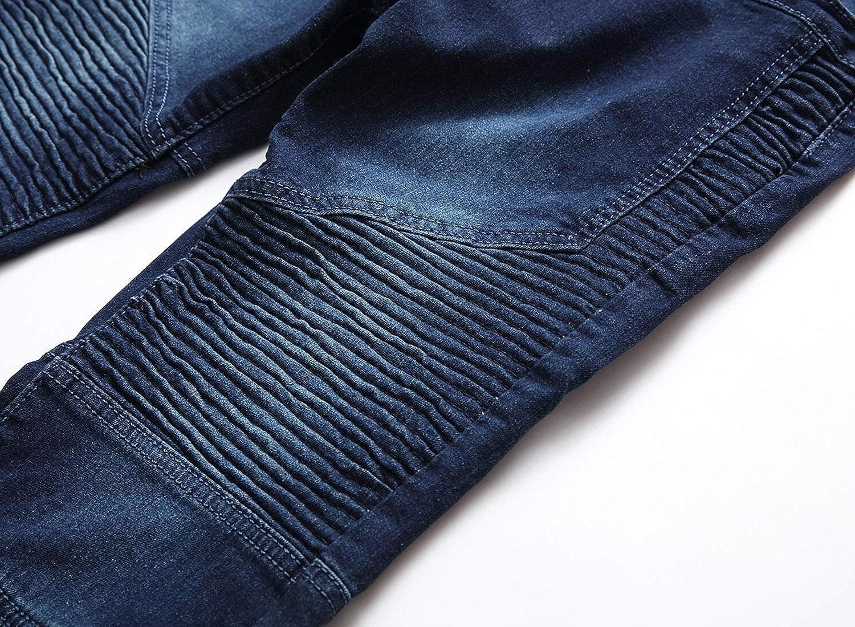 Vska Men Fashion Pleated Moto Destroyed Personalized Slim Ankle Jeans
