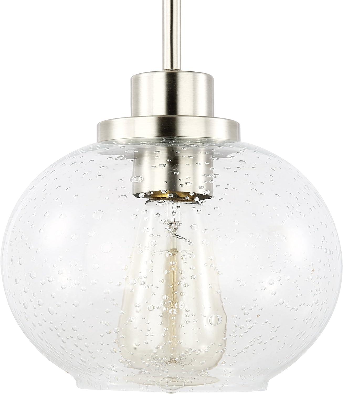 Light Society Sheridan Seeded Pendant Light, Satin Nickel with Handblown Clear Glass Shade, Vintage Industrial Modern Lighting Fixture LS-C244-SN