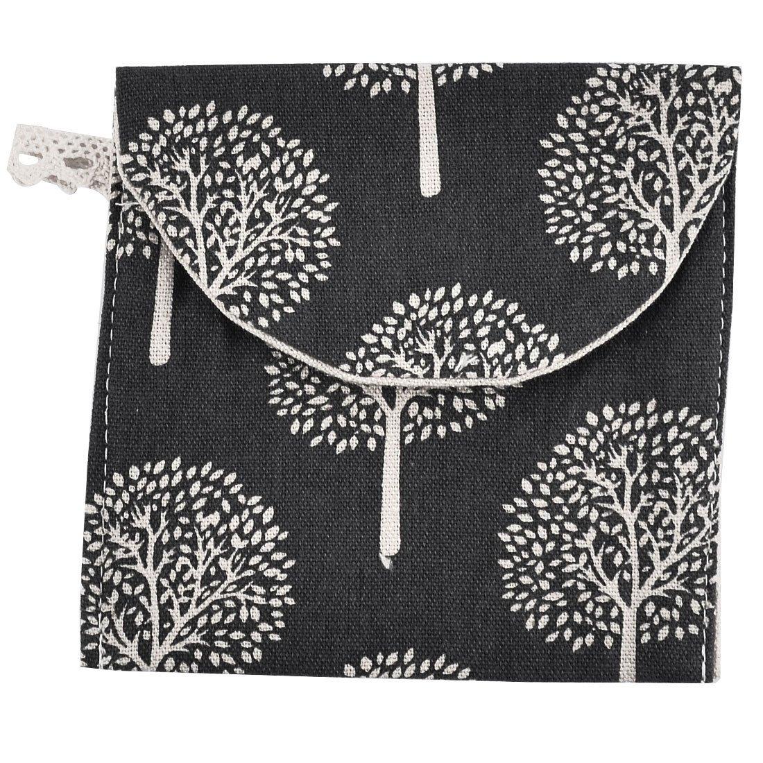 sourcingmap® leinen Quadrat Baum Muster Sanitäre Handtuch Servietten Pad Tasche Halter a16071800ux0002