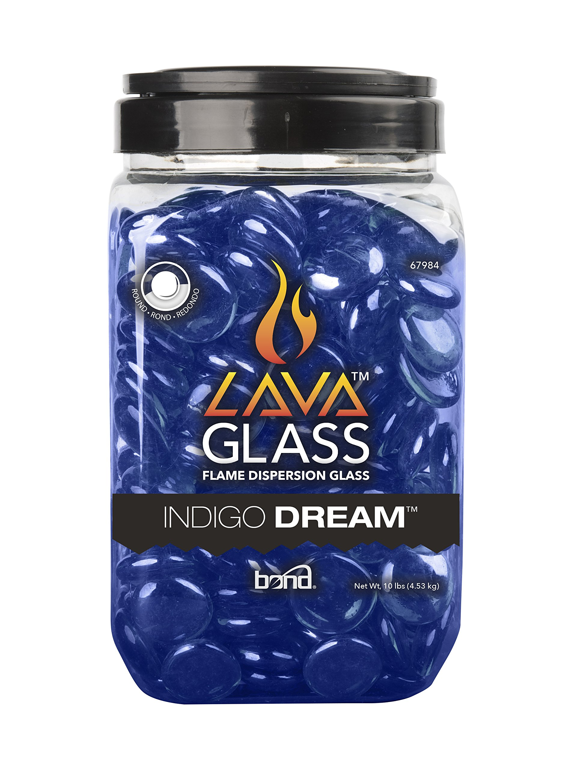 Bond Manufacturing Round Lavaglass for Gas Fire Pits, Indigo Dream