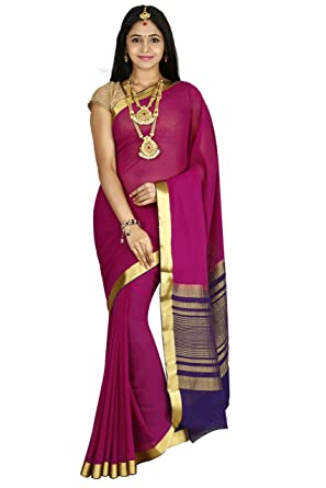 fa651410642 arars Crepe Silk Saree Mysore Silk Saree (CRP01 PURPLE)  Amazon.in ...