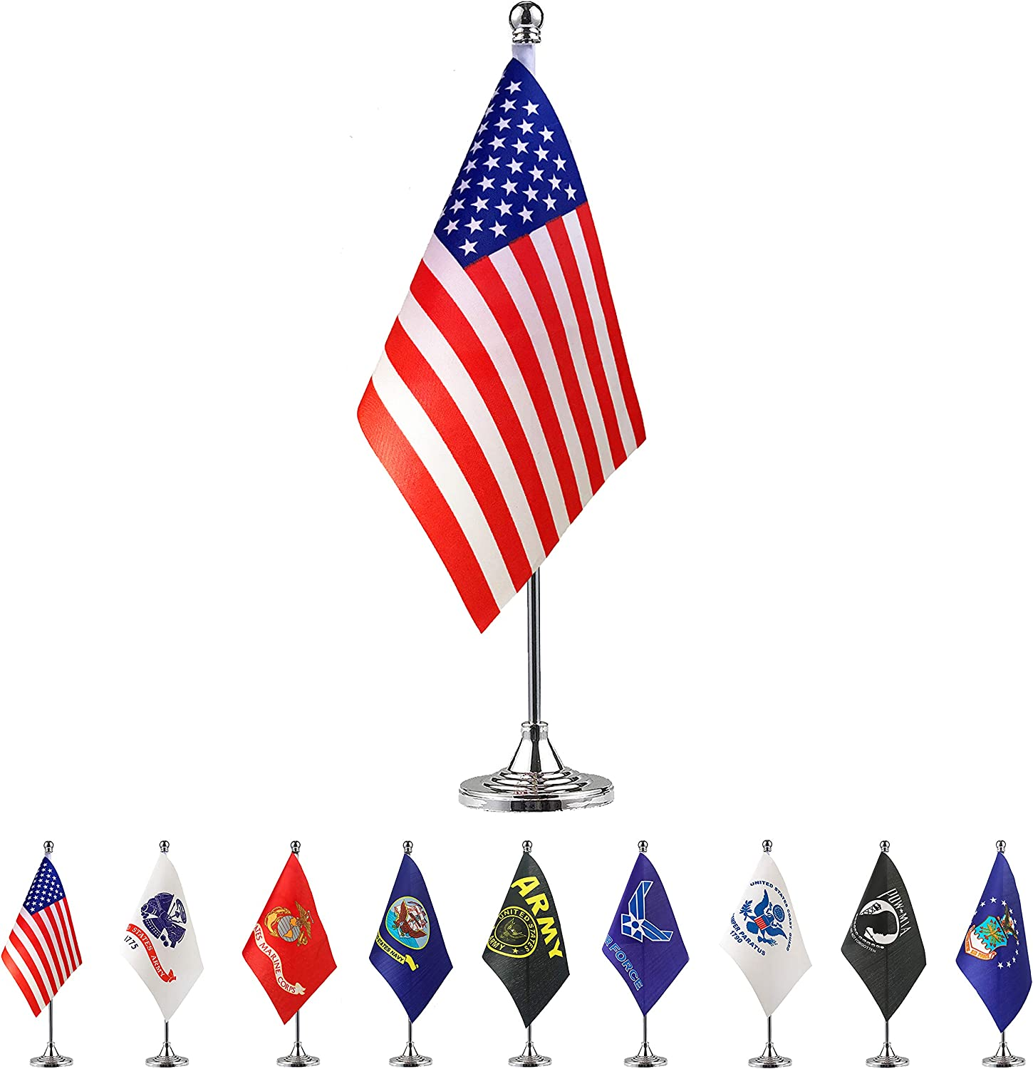 TSMD USA American Desk Flag Small Mini US Table Flags with Stand Base,Party Decorations for 4th of July, Memorial Day,Veteran's Day