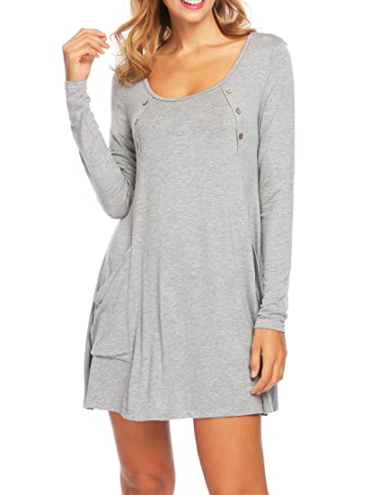7bfffaee Image Unavailable. Image not available for. Color: Zeagoo Women's Long  Sleeve Comfy With Pockets and Button Flowy Flattering Tunic Tops