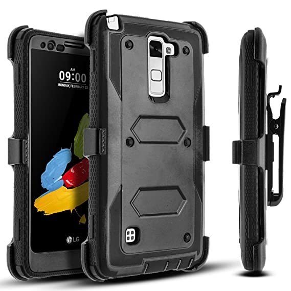 quality design d8a3b 1e542 LG Stylo 2 Case, LG Stylus 2 Case, [SUPER GUARD] Dual Layer Protective  Cover With [Built-in Screen Protector] Holster Locking Belt Clip+Circle(TM)  ...