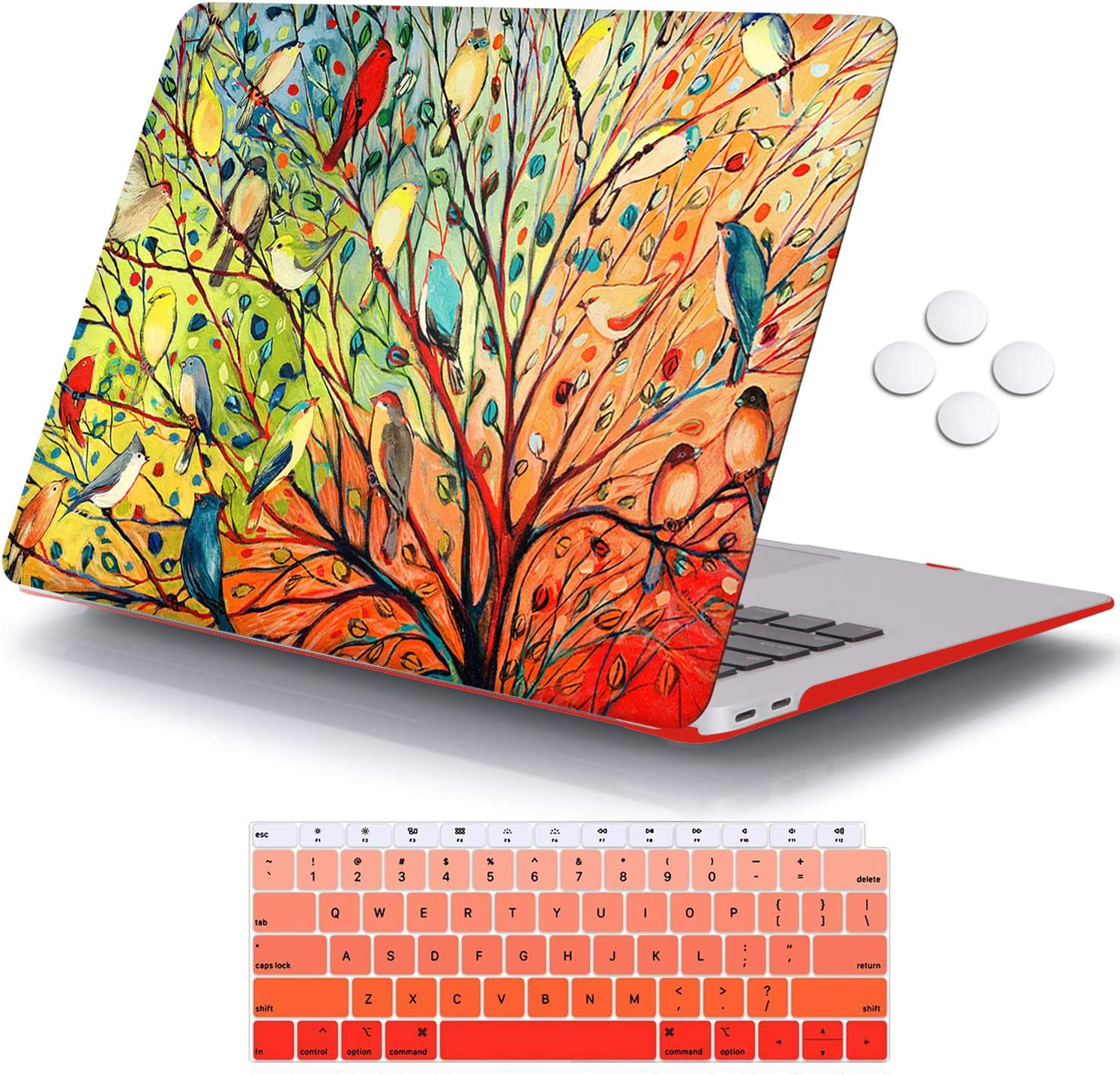 iCasso MacBook Air 13 Inch Case 2020 2019 2018 Release A2179/A1932 with Retina Display Touch ID, Durable Hard Plastic Shell Case and Keyboard Cover Compatible Newest MacBook Air 13 - Birds