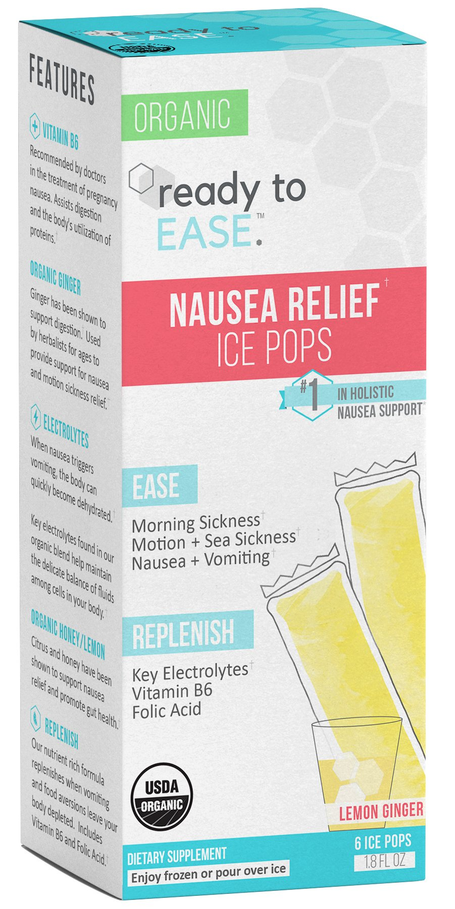 Ready to Ease - Nausea Relief Ice Pop, for Hangovers, Morning Sickness, and Motion Sickness, Frozen or Liquid Shot, 6 Count, USDA Organic, with B6, Ginger, Coconut Water, Electrolytes