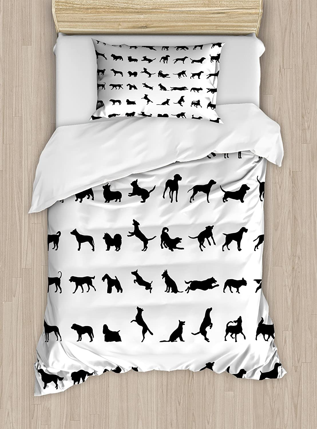 Lunarable Black and White Duvet Cover Set, Different Silhouettes Dogs Various Breeds Corgi Golden Retriever Pitbull, Decorative 2 Piece Bedding Set with 1 Pillow Sham, Twin Size, Black and White