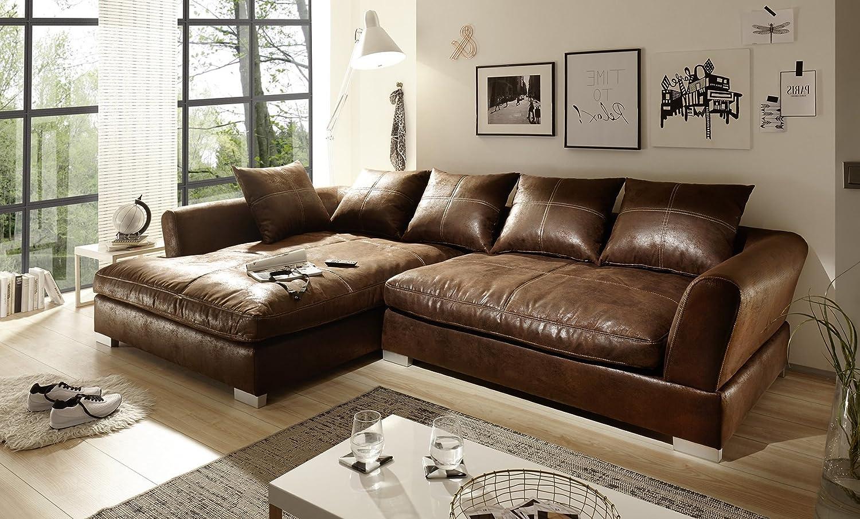 Sofa Couch Wohnlandschaft Wildlederoptik Anna L Form Rana Collection