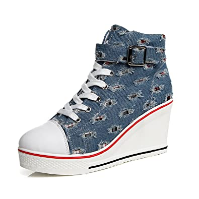 e05200cd3c4f mewow Womens Casual Plus Size High Top Buckle Wedge Heel Canvas Shoes Denim  Sneaker