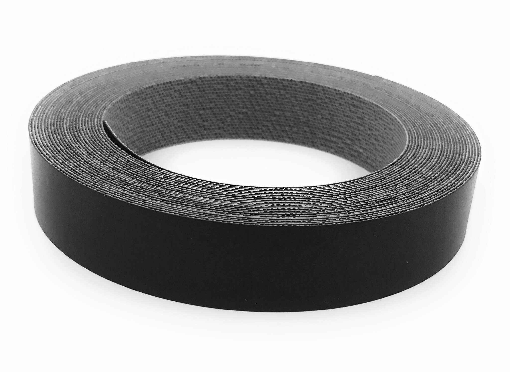 Black PVC 7/8'' X 25' Preglued Roll, Edge banding, Flexible and Strong Tape, Easy Application Iron On with Hot Melt Adhesive. Made In USA.