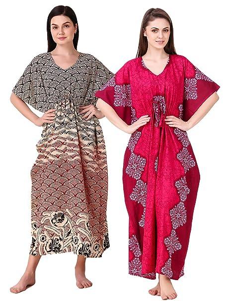 49a978444c Masha Womens Batik Print Cotton Kaftan Nighty: Amazon.in: Clothing &  Accessories