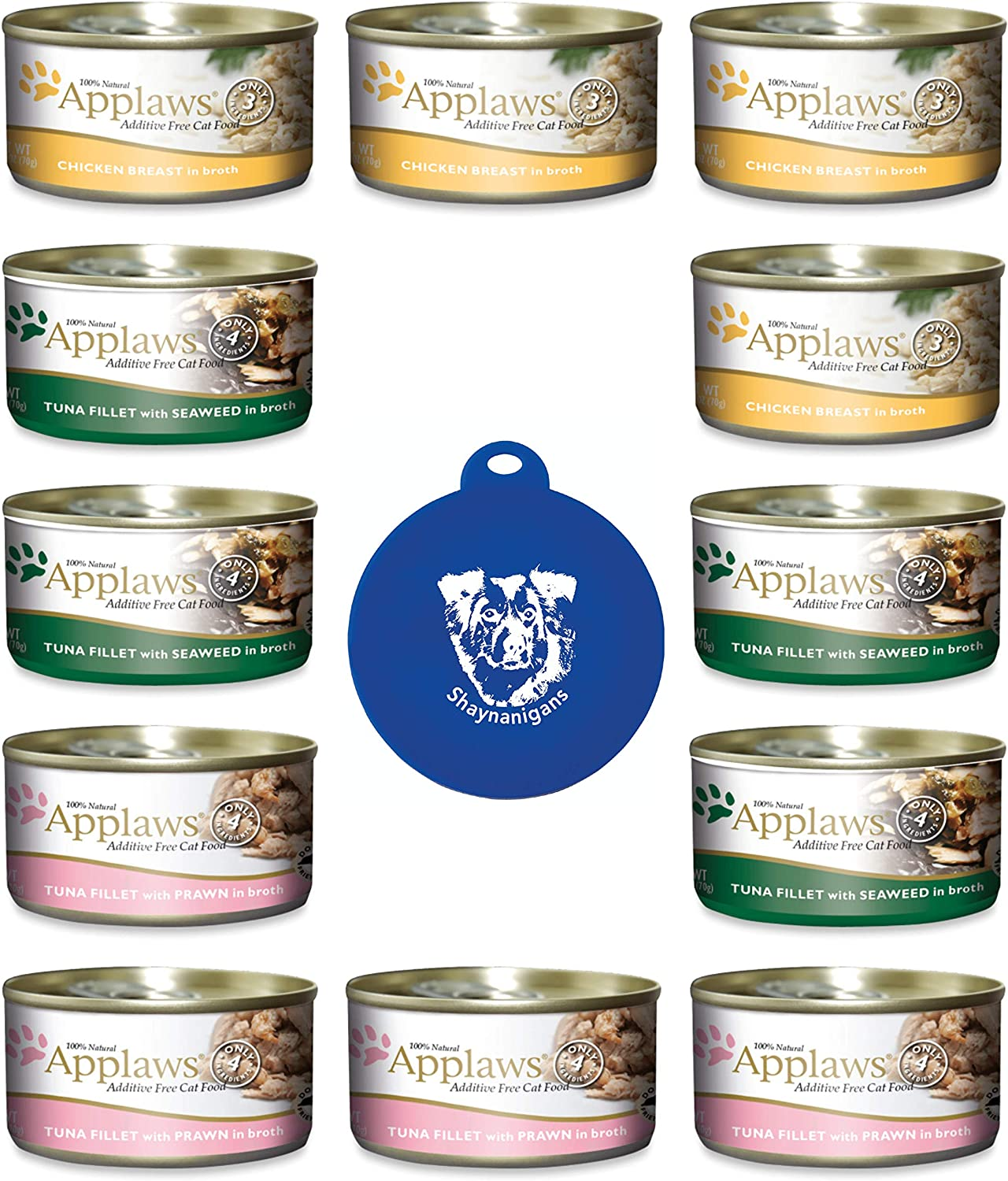 Applaws Additive Free Canned Cat Food in Broth in 3 Flavors: (4) Chicken Breast, (4) Tuna with Shrimp, & (4) Tuna with Seaweed (12 Cans Total, 2.47 Ounces Each) Plus Silicone Can Lid -- 13 Items Total