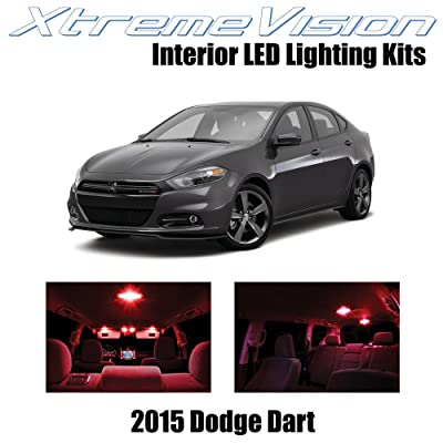 XtremeVision Interior LED for Dodge Dart 2015+ (10 Pieces) Red Interior LED Kit + Installation Tool: Automotive