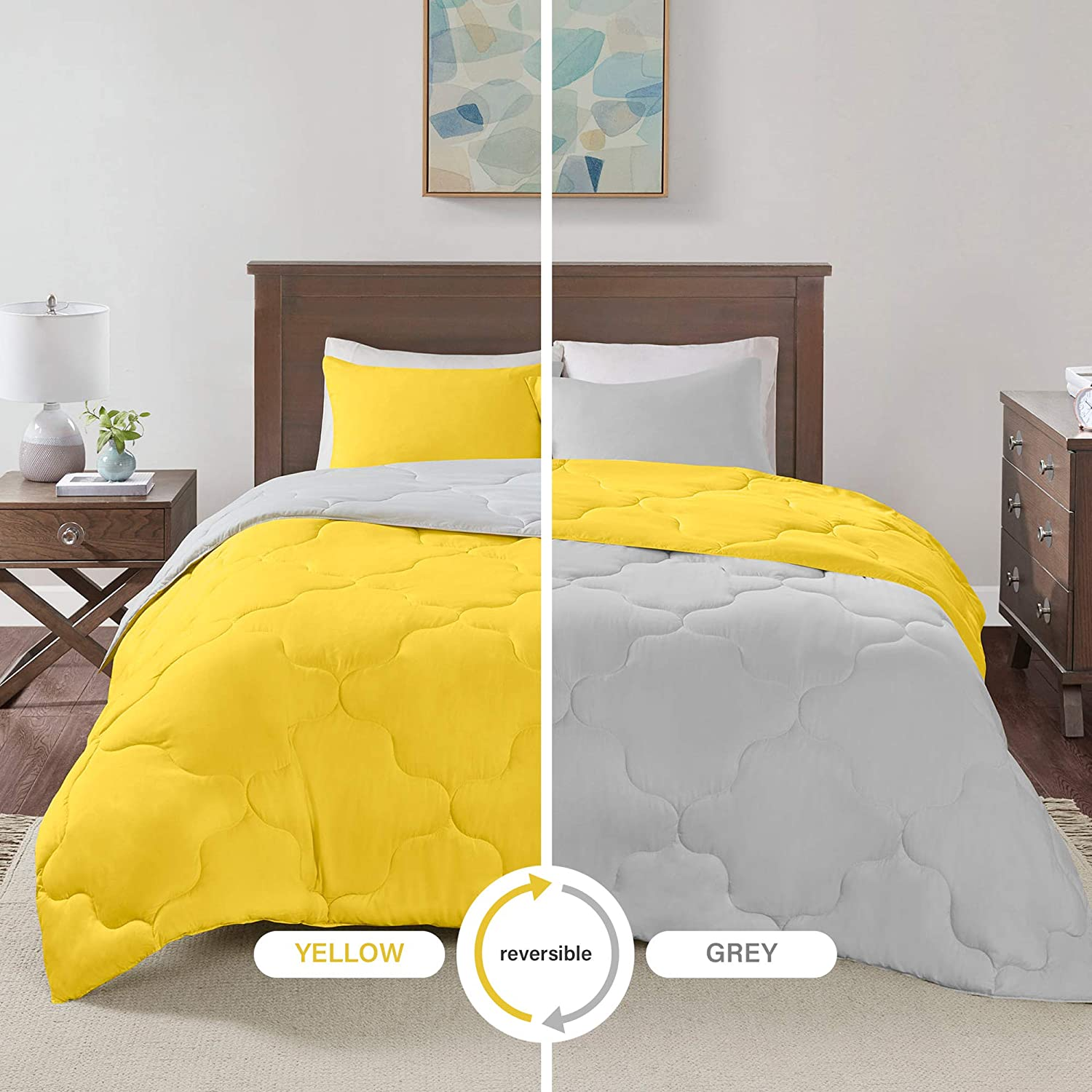 Comfort Spaces Vixie 3 Piece Comforter Set All Season Reversible Goose Down Alternative Stitched Geometrical Pattern Bedding, Full/Queen, Yellow/Grey