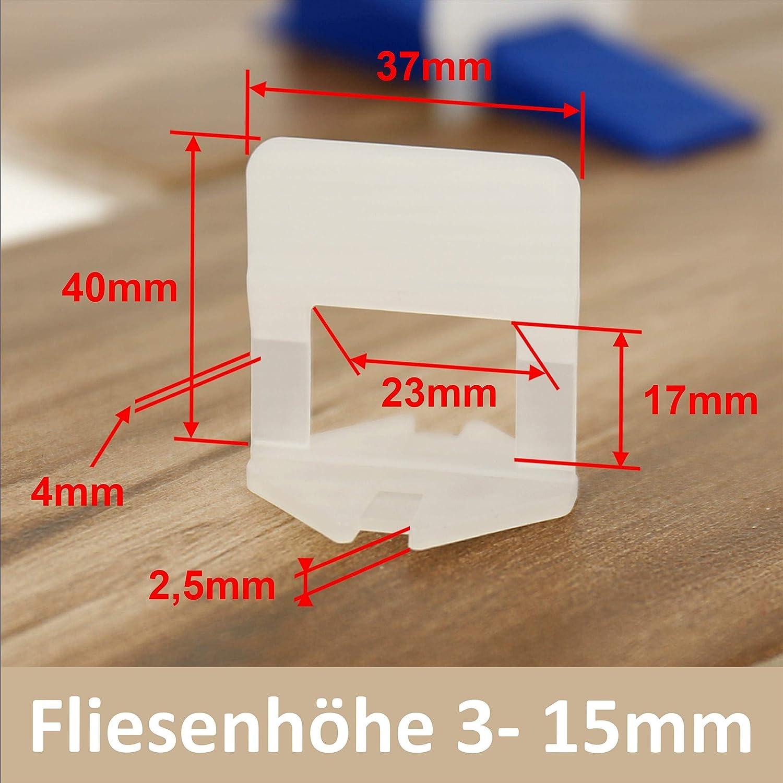 Lantelme 4 mm Fuge 500 St/ück Standard Zuglaschen Fliesen Verlegehilfe Nivelliersystem Flisenh/öhe 3 bis 15mm