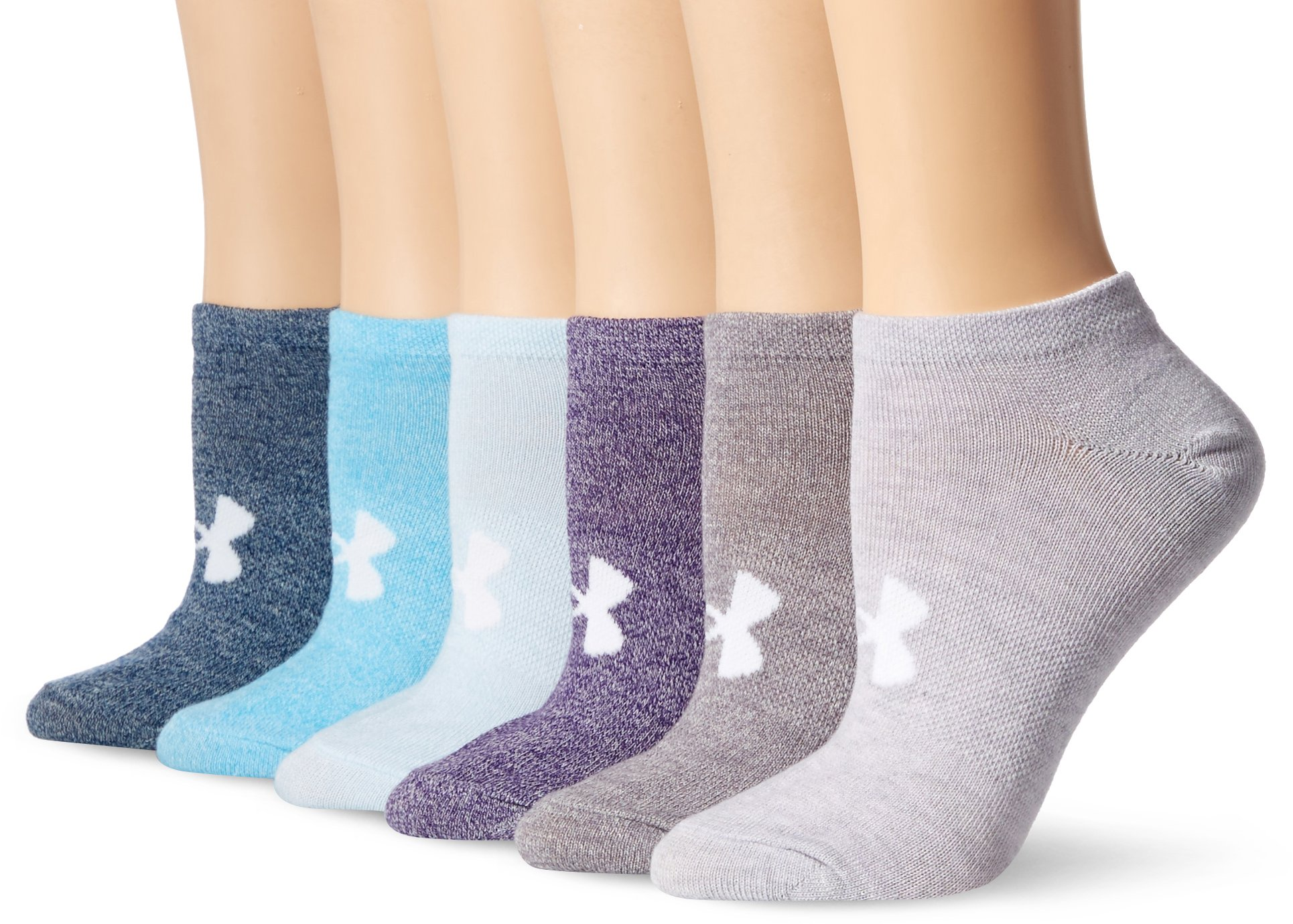 Under Armour Essential No-Show Liner Socks (6 Pairs), Purple Heather/Assorted, Shoe Size: Womens 6-9 by Under Armour