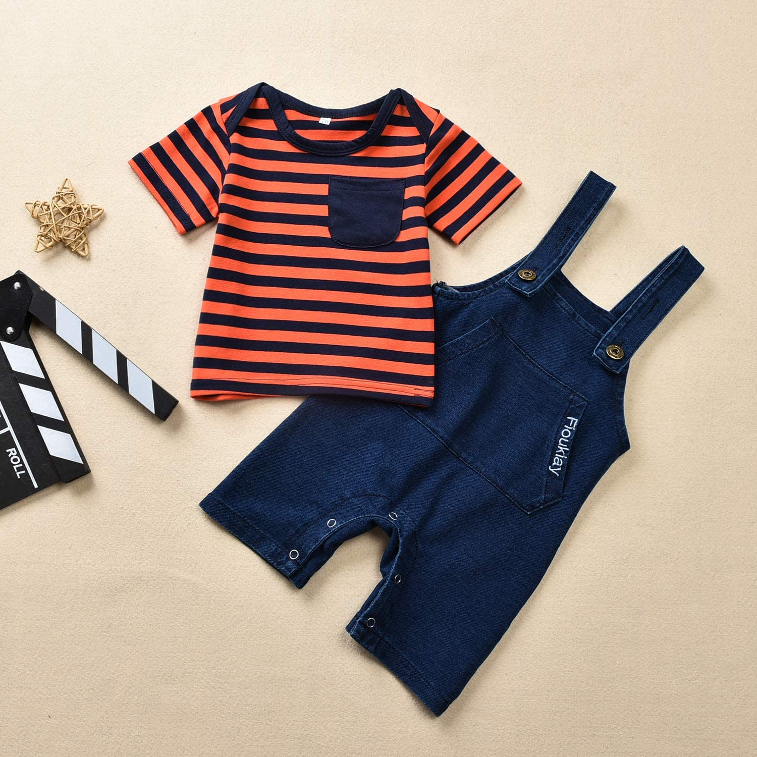 Baby Toddler Overalls Unisex Newborn Romper Outfit Sets for Boys and Girls