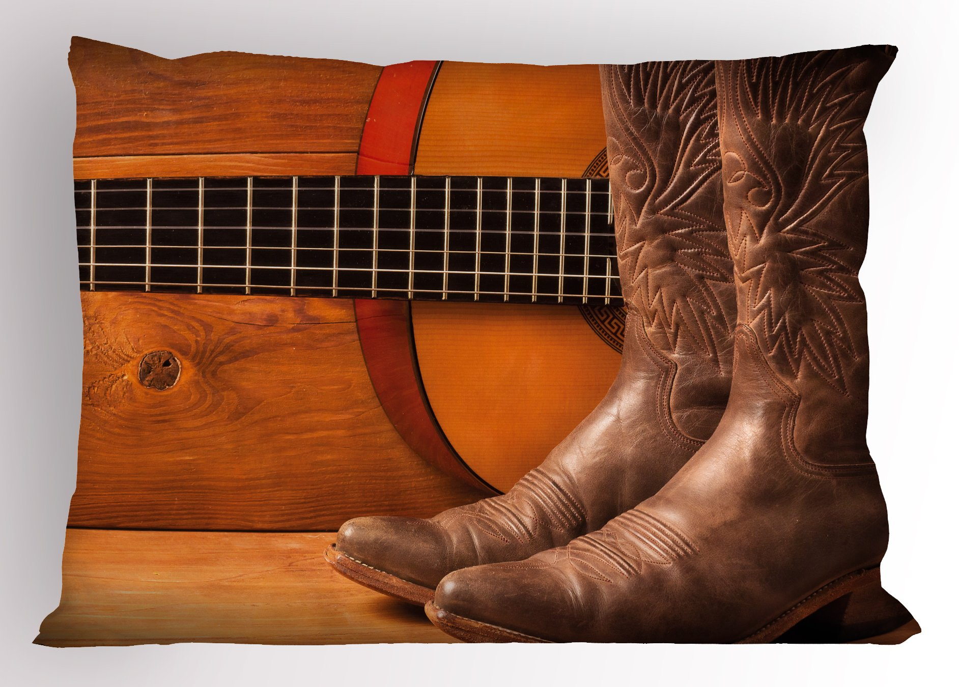 Lunarable Western Pillow Sham, American Country Music Theme Guitar Instrument and Cowboy Shoes on Wood Image, Decorative Standard Queen Size Printed Pillowcase, 30 X 20 Inches, Brown Orange by Lunarable (Image #1)