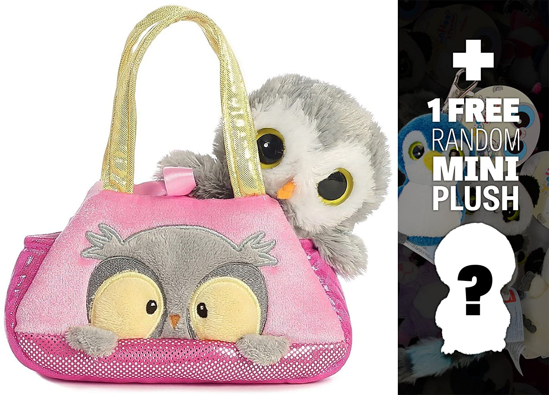 327733 Fancy Pals Mini-Plush Purse Pet Carriers Series Peek A Boo Owl 1 FREE Aurora Mini-Plush Charm Bundle