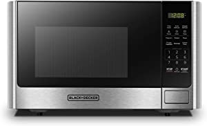 BLACK+DECKER Digital Microwave Oven with Turntable Push-Button Door, Child Safety Lock, Stainless Steel, 0.9 Cu.ft