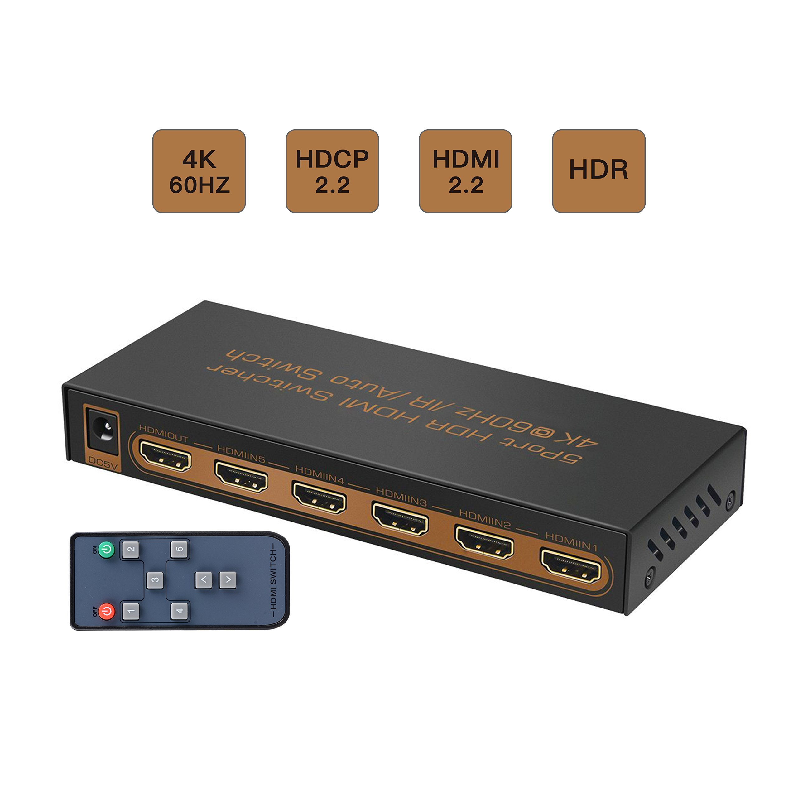 CORPRIT 4K HDMI Switch, 4K x 2K/60Hz HDMI Switcher with IR Remote, Support HDR,HDMI 2.0, HDCP 2.2,Full HD/3D,1080P,DTS/Dolby