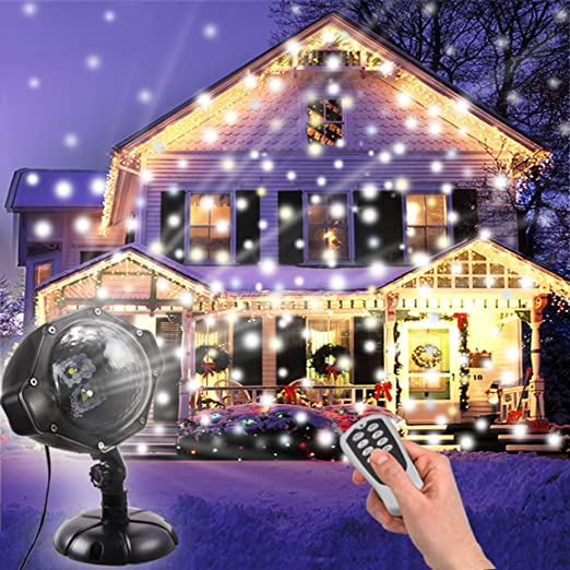 Snowing Christmas Lights.Snowfall Light Dydylu Snowing Christmas Lights Led Projector With Remote Control White Snowflake Rotating Outdoor Interior Waterproof Landscape