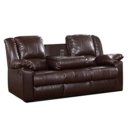 Bon Milton Greens Stars Burgas Reclining Sofa With Dropdown Cup Holder, 81 Inch  By 38