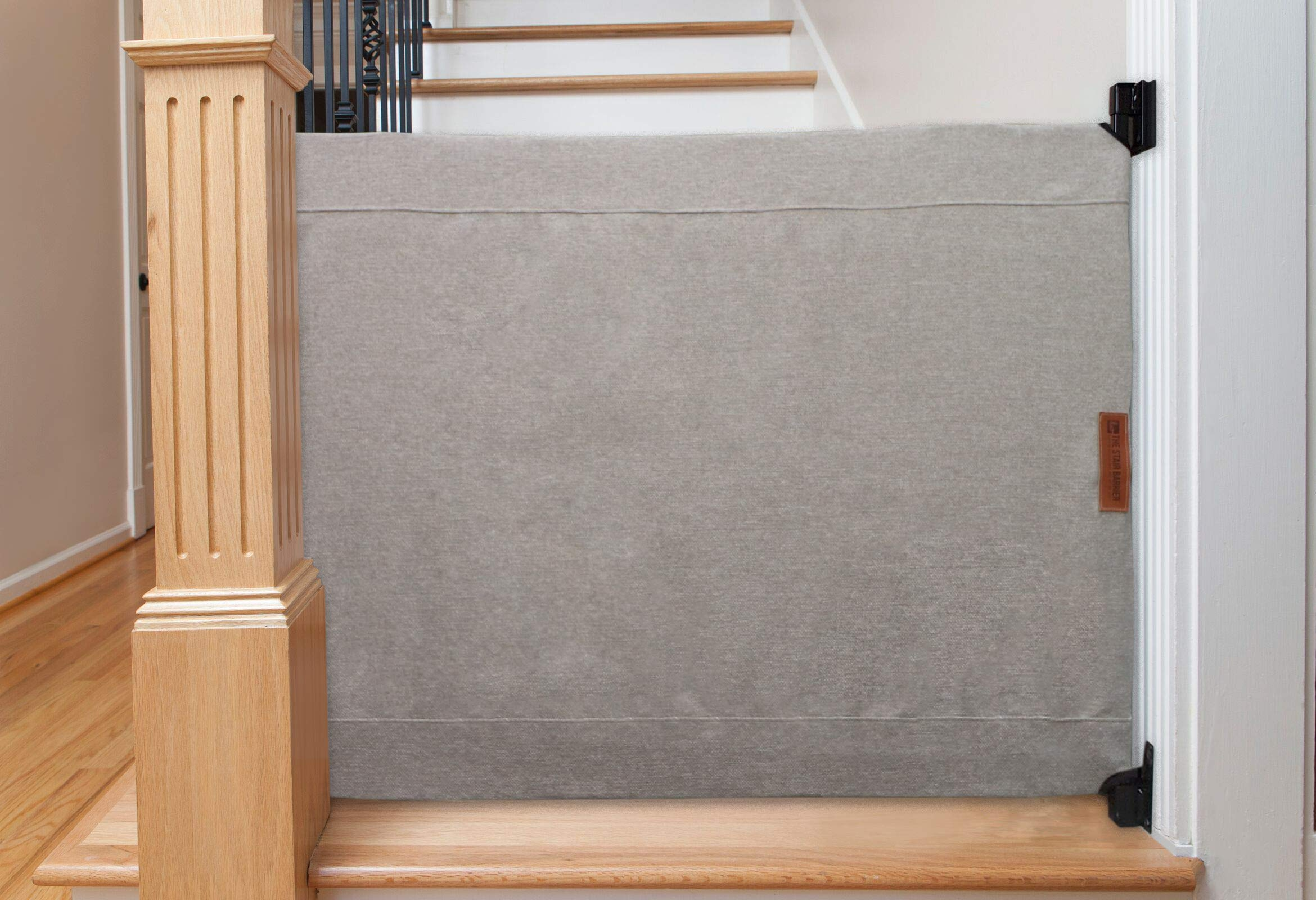 The Stair Barrier Baby and Pet Gate: Banister to Wall Baby Gate - Safety Gates for Kids or Dogs - Fabric Baby Gate for Stairs with Banisters - Made in The USA, New 2019 by THE STAIR BARRIER KEEPING CHILDREN AND PETS OFF THE STAIRS (Image #1)