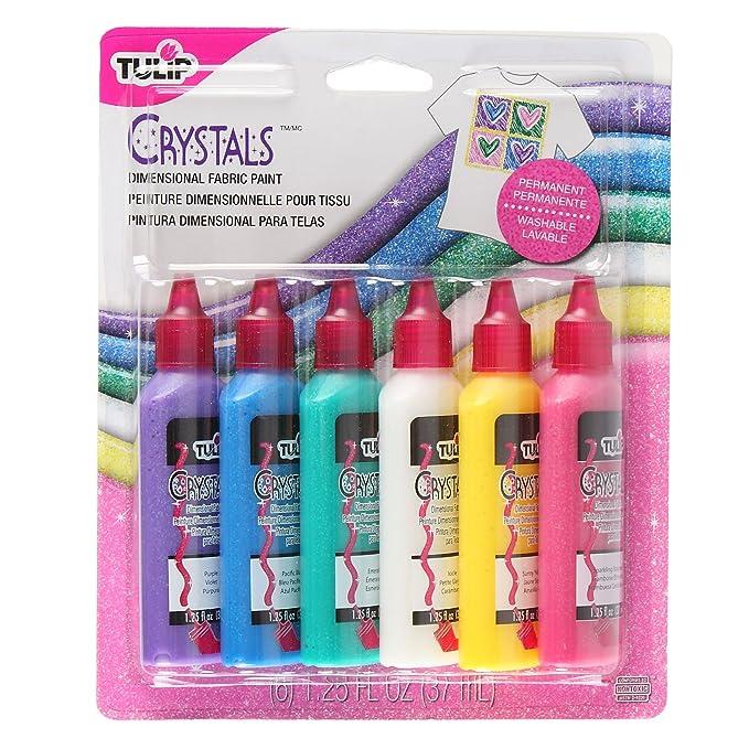 Tulip 15552 Washable Crystals 3D Fabric Paint Set, Multicolor