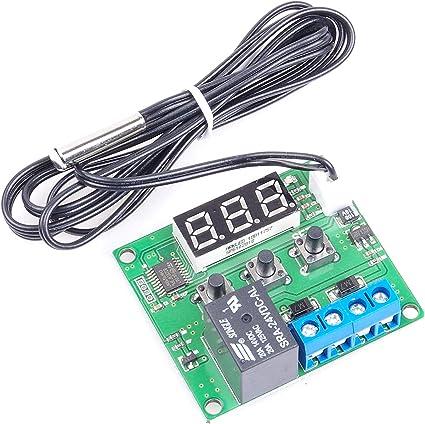 miniature thermal control plate temperature control switches precision temperature controller KNACRO DC 5V 12V 24V BLUE GREEN RED Digital display temperature control DC 5V, Green