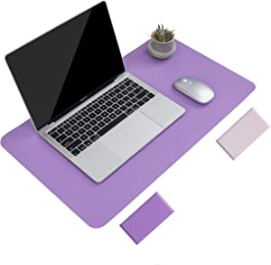 """Non-Slip Desk Pad, Waterproof PVC Leather Desk Table Protector, Ultra Thin Large Mouse Pad, Easy Clean Laptop Desk Writing Mat for Office Work/Home/Decor (Purple, 23.6"""" x 13.7"""")"""
