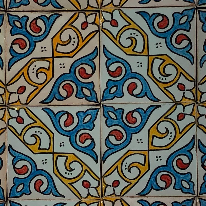 Handbemalte marokkanische Fliese orientalische Keramik Fliese Motiv MosaikflieseElem 10 x 10 cm