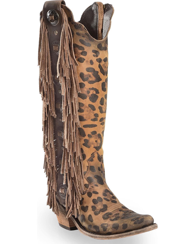 Liberty Black Women's Chita Miel Fringe Cowgirl Boot Pointed Toe Cheetah 8 M