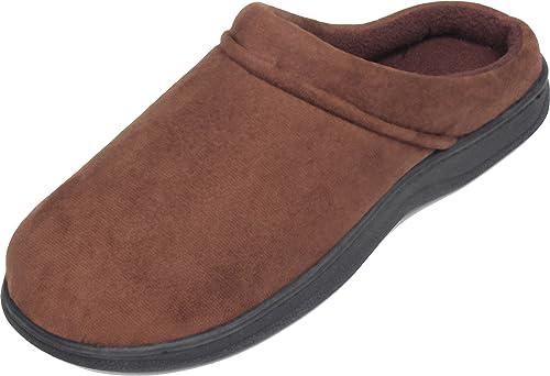 LUXEHOME Men's Slip On Indoor/Outdoor Fleece Scuffs Slipper (10-11 US Brown)