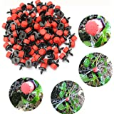 KING DO WAY Pack of 100 Plastic Adjustable Micro Drip Irrigation Watering Tool Anti-clogging Emitter Dripper