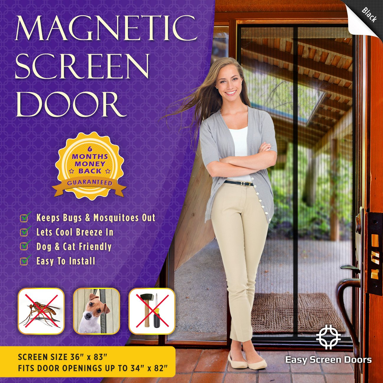 Magnetic Screen Door, Mesh Curtain   Keeps Mosquitoes Out   Full Frame  Velcro   Toddler And Dog Friendly   Fits Doors Up To 34   Inch By 82   Inch  MAX ...