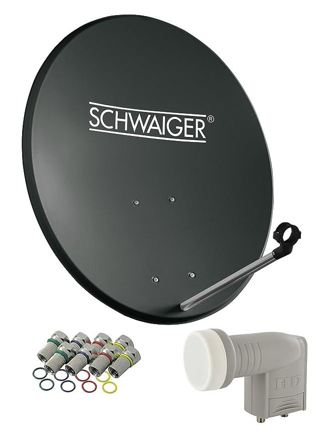 SCHWAIGER -487- Sat Anlage, Satellitenschüssel mit Twin LNB (digital) & 8 F-Steckern 7 mm, Sat Antenne aus Stahl, Anthrazit,