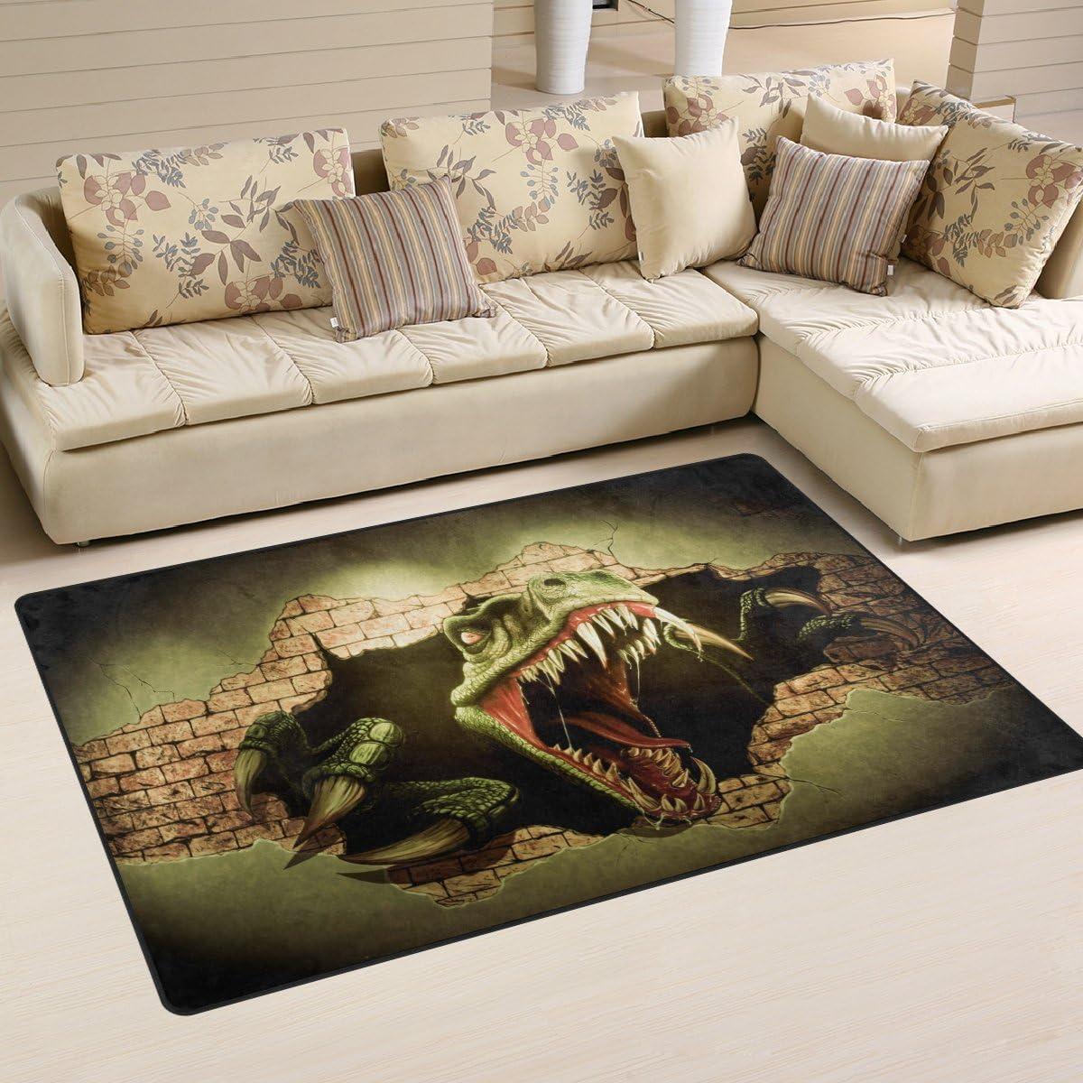 WOZO Fierce Dinosaur Area Rug Rugs Non-Slip Floor Mat Doormat