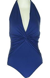 11278dbc4a8bd MICHAEL Michael Kors Womens Twist Front Halter One-Piece Swimsuit Blue 4