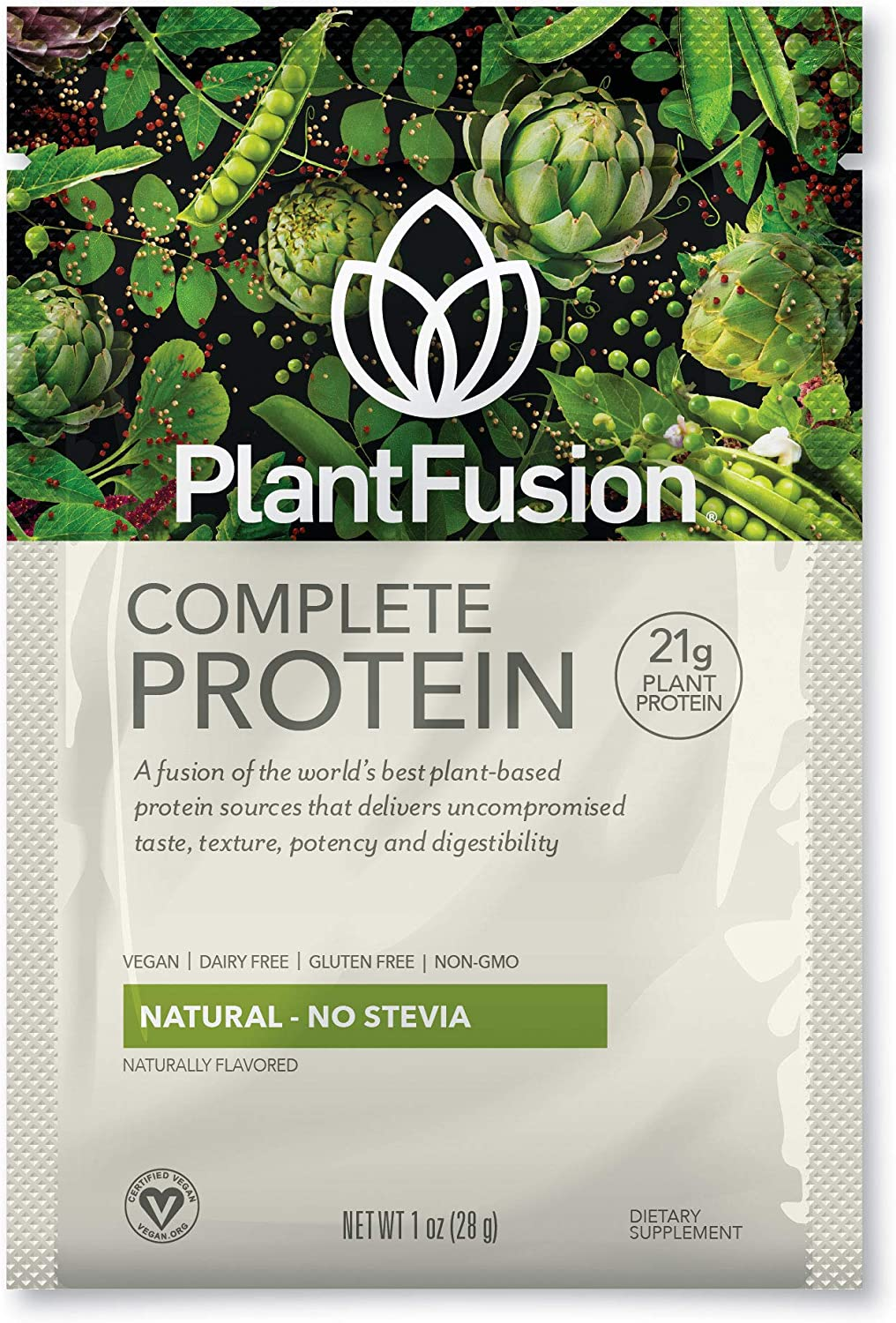 PlantFusion Complete Plant Based Protein Powder, Natural - No Stevia, 30 g Single Serving Packets, 12 Count, Gluten Free, Vegan, Non-GMO, Packaging May Vary, 1 Ounce (Pack of 12)